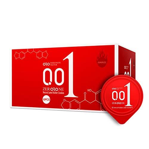Wonderful Day 10 Stück 0,01 Ultradünne KondomeSaferSex Verhütung von Spielen für Erwachsene Ice Fire Delay Hyaluronsäure Gleitmittel KondomeSex Produkte, OLO001 rot