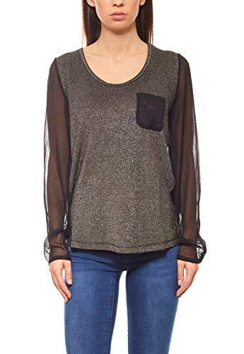 rick cardona Metallic-Look Langarm Shirt Blusen-Shirt mit Brusttasche Schwarz, Größenauswahl:34