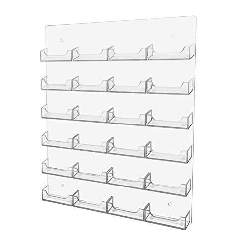 Marketing Holders 24 Pocket Wall Mount Realtor Contact Business Card Display Storage & Organization Multi Pocket Gaming Cards Membership VIP Point Card Retail Rack Clear Pack of 1