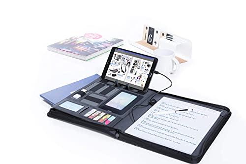 MKTOSASA - Cartella Portadocumenti A4 in Similpelle con Power Bank 5000mAh e Blocco Note di 20 Pagine. Numerosi Scomparti per Materiale, Supporto per Smartphone/Tablet e Chiusura a Zip
