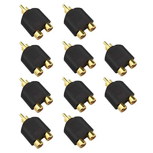 10 adaptadores divisor RCA Phono Y 1 macho a 2 hembras, conectores chapados en oro para audio y vídeo AV TV cable convertidor