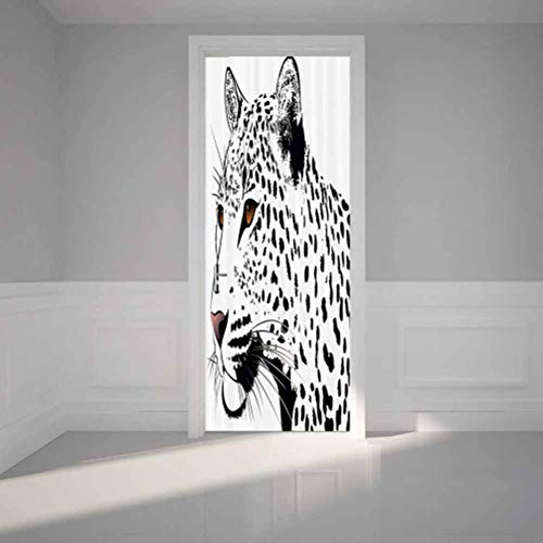 3D Self-Adhesive Stained Glass Window Door Murals Sticker, Tattoo Decor The Head of Magnificent Rar, Vinyl Wall Stickers Door Decal for Home Room Decoration, W30.3 x L78.7 Inch