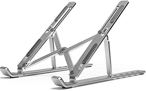 "Laptop Stand, Aluminum Ventilated Cooling Stand, Ergonomic Adjustable Computer Holder, Lightweight Notebook Riser Compatible More 10-15.6"" Laptops Tablet"