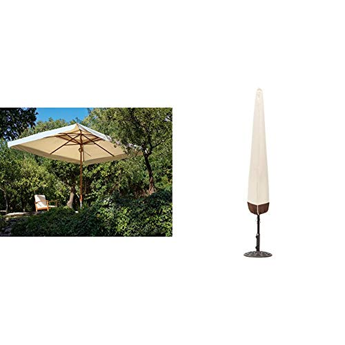My Garden Oasis Ombrellone da Giardino, 3 x 3 Metri, Ecru & AmazonBasics Copertura per ombrellone