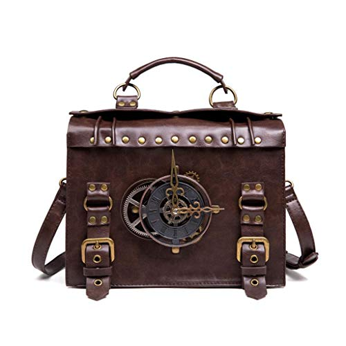 XINGYUE Pu Shoulder Bag, Steampunk Gear Crossbody Bags Retro Messenger Bags Gothic Shoulder Handbags Satchel Phone Pouch for Women Ladies