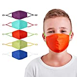 Kids Reusable and Washable Protective Cotton Covers Breathable Seamless with Adjustable Ear Loops and Contoured Design Comfortable Fit for Unisex Children - 5 Pack