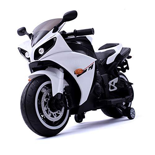 Yany Electric Motorrad für Kinder, Batteriebetrieben Elektromotorrad für Kleinkinder ab 3 Jahren Elektroroller, für Jungen Mädchen Geschenk 65.5 x 117cm,Weiß