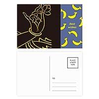 仏教は、仏教の手のロータスの単純なパターン バナナのポストカードセットサンクスカード郵送側20個