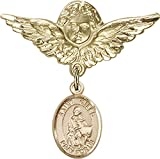 14kt Gold Baby Badge with St. Giles Charm and Angel w/Wings Badge Pin St. Giles is the Patron Saint of Cancer Patients 1 1/8 X 1 1/8