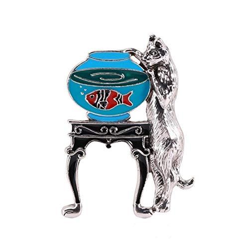 QYTSTORE Stehende Katze brosche, größe: 5,1 * 3,3 cm, niedliche Tier brosche mit 2 fischfarben im Aquarium, brosche Neue Jahr schmuck Geschenk Elegante und romantische Brosche