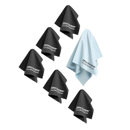 EliteTechGear Most Amazing Microfiber Cleaning Cloths (6 Pack) Perfect for Cleaning Eyeglasses, LCD Screens, Tablets and Other Delicate Surfaces (5 Large 6x7inch and 1 Oversized 12x12inch)