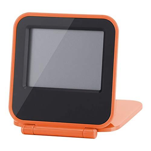 Atyhao Despertador Plegable, Despertador Digital de Viaje de Mesa Plegable portátil con Calendario de Temperatura Fecha Semana(Naranja)