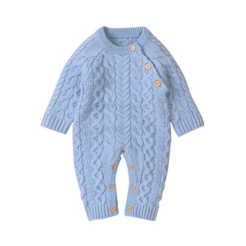 Kobay-baby Neugeborenes Baby Mädchen Winter Knopf Pullover Strick Overall Overall Warme Kleidung Baby Overall Langarm Strickoverall (0-2Y)