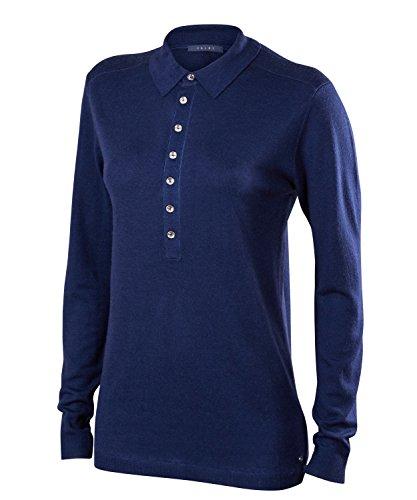 FALKE Damen Golf Langarm Knopfleisten Polo Poloshirt, Dark Night, XS