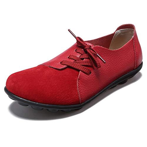 Hishoes Damen Mokassin Bootsschuhe Leder Loafers Fahren Flache Schuhe Halbschuhe Slippers Erbsenschuhe , Rot 8, 40 EU