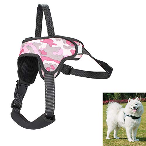 Lhh No Pull Dog Harness Puppy Vest Dogs Harnesses Front Clip Pet Chest Strap with Handle, Adjustable, Breathable Soft Mesh, Easy Control,Pink,M