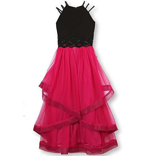 Speechless Big Girls 7-16 Elegant Party Dress with High-Low Skirt and Strappy, Black/Multi, 7