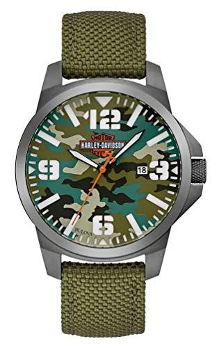 Harley-Davidson Men's B&S Camo Print Stainless Steel Watch w/Nylon Strap 78B157