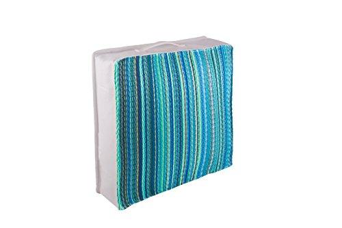 FAB HAB Hab Outdoor Bodenkissen, UV- und witterungsbeständig, recycelter Kunststoff - Cancun - Turquoise & Moss (51 cm x 51 cm)