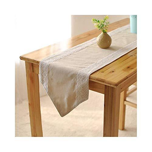 CUIZC Camino de mesa de algodón y lino, tejido de encaje, antideslizante, resistente al calor y fácil de limpiar, 30 × 220 cm