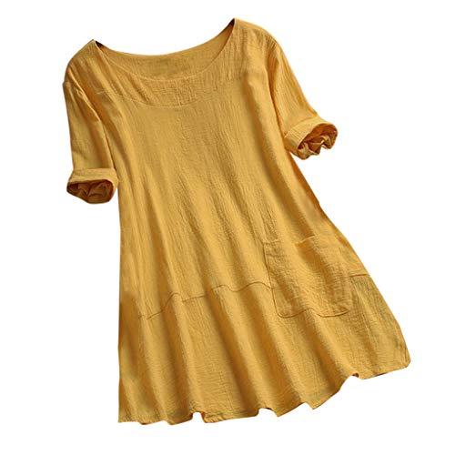 Oversize Shirt Oberteile für Damen,Dorical Frauen Sommer T-Shirt Rundhals Loose Lange Ärmel Drucken Shirts Bluse Tops,Casual Irregular Patchwork Damenkleidung,M-5XL Rabatt(Gelb-2,XX-Large)