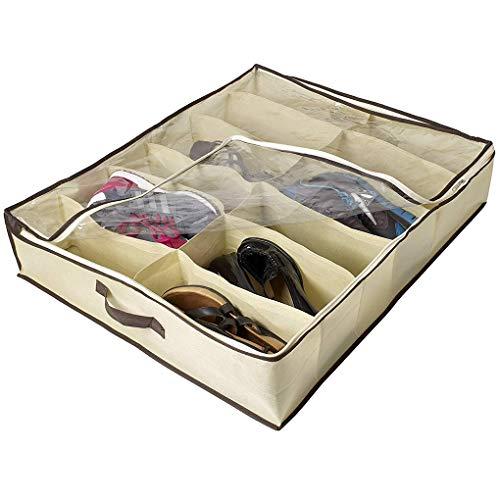 Vilito 2pcs Set 12 Grids Under Bed Shoe Organizer Shoes Closet Storage Box - Storage Bins Boxes Organizers Storage Boxes Bins Linen Shoe Closet Baby Caddy Storag Cloth Circle Flower W