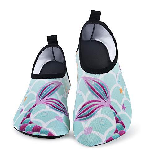 AMZTM Niña Escarpines Deportes Acuático,Sirena Zapatos de Agua Descalzo Barefoot Calcetines de Natación para Paseo Playa Buceo Snorkel Kayak Surf (Sirena A, Numeric_24)