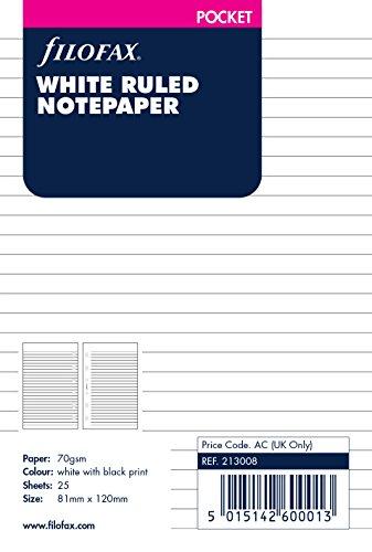 Filofax B213008 Pocket notitiepapier, gelinieerd, wit