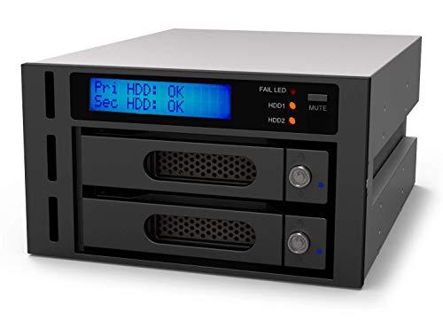 Raidon iR2622 Internes RAID-Gehäuse für 2x SATA HDD/SSD, 2,5 Zoll/3,5 Zoll, RAID 0/1, Display, Trägersystem, Lüfter, RS-232, Einbau in 2x 5,25 Zoll