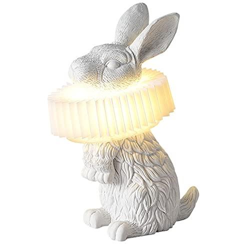 QJUZO Lámpara De Noche con Diseño De Conejito Blanco, LED Lámpara De Mesa Regulable con 3 Temperaturas De Color, Animal Luz Nocturna Arte Deco para Niños Habitación De Bebé Guardería Dormitorio,B