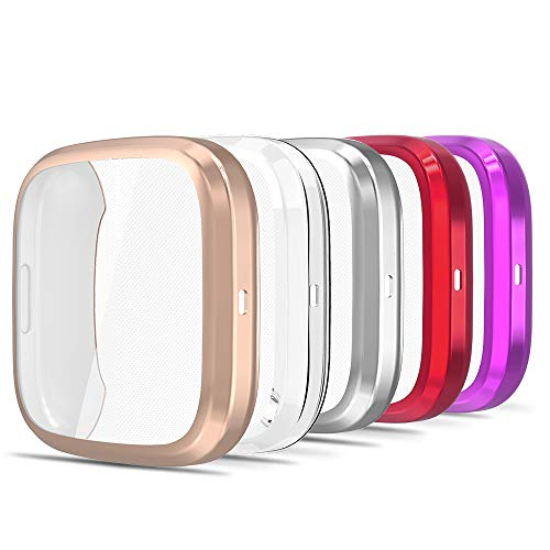 Simpeak Screen Protector Case Compatible with Fitbit Versa 2 Smartwatch, Pack of 5, Full Protection, Soft TPU Plated Bumper Cover, Rose Gold/Clear/Silver/Red/Purple