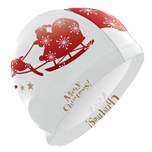 HULKBIDBV Swim Cap Merry Christmas Deer Santa ClausPersonality Customization Swimming Skull Hat Cover Ears Comfortable Bathing Cap,3D Ergonomic Design