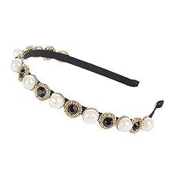 Black 3 Crystal Rhinestone Wide-edge Headband