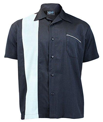 Steady Clothing Herren Vintage Bowling Hemd - Single Poplin Retro Bowling Shirt S