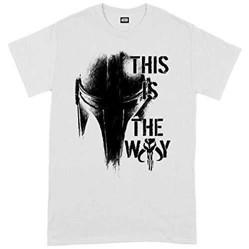 Compatible with Star Wars The Mandalorian The Way Mando Helm Oficial Camiseta para Hombre (Medium)