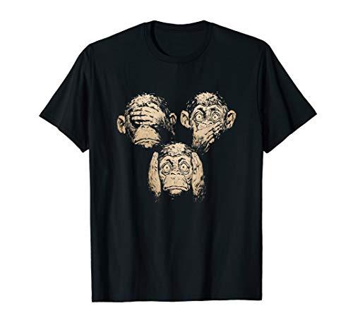 Drei Verschiedene Affen Nichts Sehen, Hören Und Sagen Monkey T-Shirt