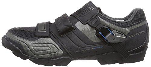 Shimano zapatos adultos de la bicicleta zapatillas de ciclismo MTB SPD amplia velcro / trinquete., Negro, 42 UE