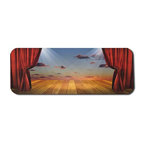 Musiktheater Computer Mouse Pad, abstrakte traumhafte Fantasy-Bühne mit Vorhängen Dramatischer bewölkter Sonnenuntergang Himmel, Rechteck rutschfeste Gummi Mousepad große mehrfarbig