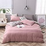 CoutureBridal Bettwäsche 200 x 200 cm Rosa Grau Microfaser Wendebettwäsche Set Uni Deckenbezug Doppelbett Bettbezug 200x200cm mit Reißverschluss und 2 Kissenbezüge 80 x 80 cm