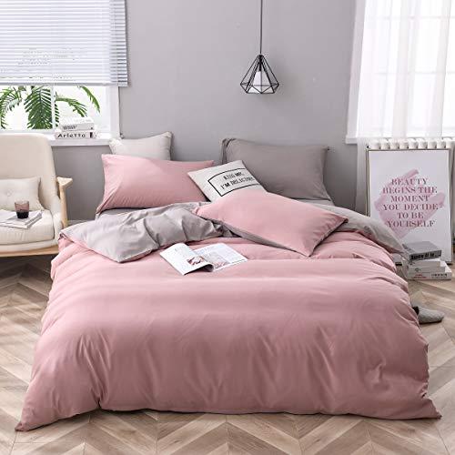CoutureBridal Bettwäsche 135 x 200 cm Rosa Grau Microfaser Wendebettwäsche Set Unifarben Elegant Bettbezug mit Reißverschluss und 1 Kissenbezüge 80 x 80 cm