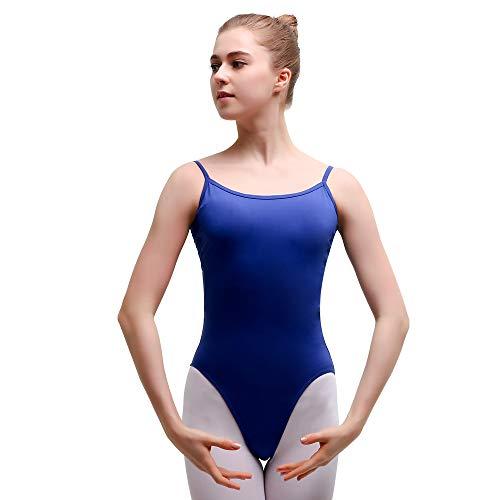 Bezioner Ballett Trikot Damen Ballettanzug Spaghetti-Träger Ballettkleid Mesh Gymnastikanzug Blau S
