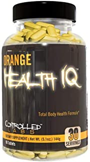 Orange Health IQ Daily Overall Health Supplement for Men and Women by Controlled Labs, 90 Tablets, Enhanced Stamina, Energ...