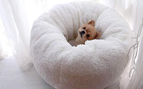 LANZHEN-RY Cama de Perro Fashian Cama para Mascotas Redonda Oval Lana Blanca Nido De Perro Cueva Cama Mascota Gato Cama Gato Y Cachorro Suave Y Cómoda Base Antideslizante Cama de Gato (Size : M)