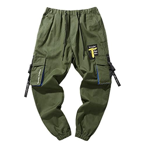 GYSAFJ Pantalones de deporte para hombre Pantalones de correr casuales de alta calle Jogger Pantalones de bolsillo, forro polar verde con licencia oficial de star wars silent one crew., X-Large