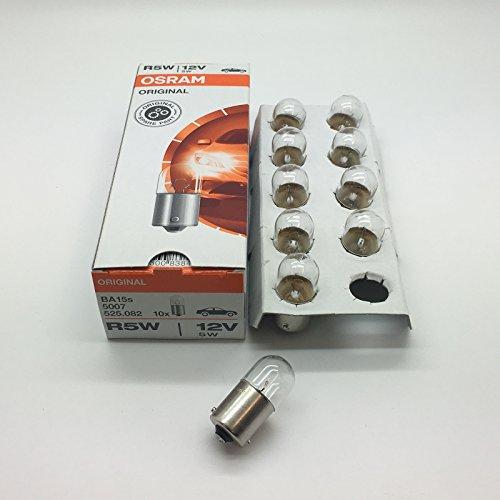 Osram 207R5W BA15S 5007 - Lampadina da auto a 12V, 5W per luce di posizione / fanale, numero di targa; in confezione da 10