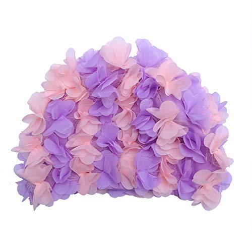 TENDYCOCO Cuffia da Bagno con Petali di Fiori Elegante Cappello da Nuoto con Cuffia da Bagno per Capelli Lunghi e Corti (Viola)