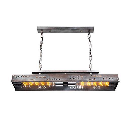 KJLARS Retro Loft Industriale Lampada da soffitto Lampadario Sospensione tavolo da pranzo regolabile in altezza E27 * 4 lampadina in metallo in camera da letto soggiorno 77CM Argento arrugginito