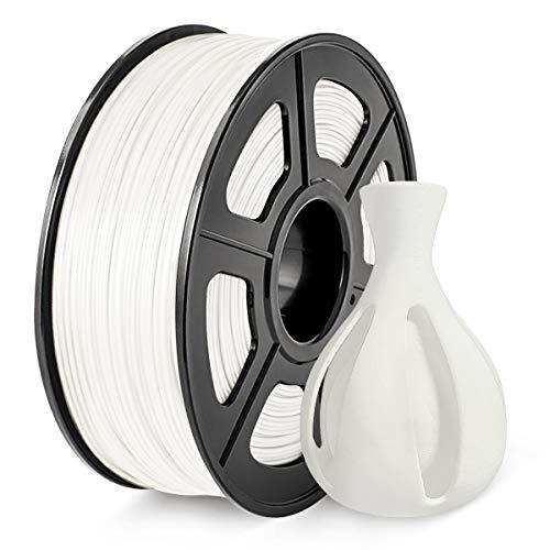 Filamento ABS 1.75 mm, Filamento SUNLU ABS para impresora 3D, precisión dimensional +/- 0.02 mm, ABS blanco 1 kg