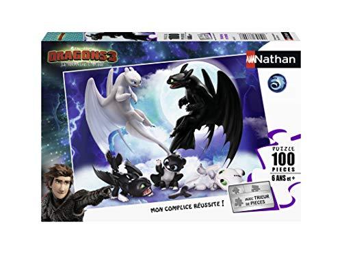 Nathan 4005556867677 - Puzzle para niños, niños, niños, juguetes, 3 años, dragones, krokmou, Harold, Viking, 100 piezas , color, modelo surtido