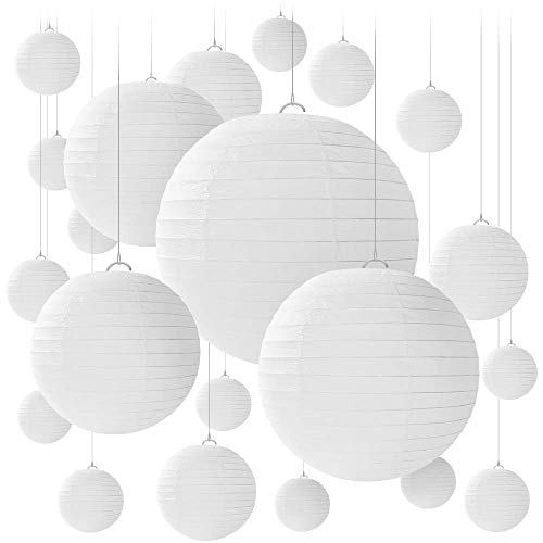 20 White Round Paper Lanterns for Weddings, Birthdays, Parties and Events - Assorted Sizes of 6